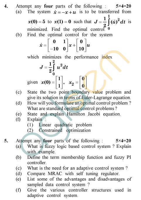 UPTU B.Tech Question Papers - EE-803 - Modern Control System