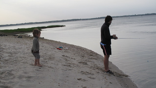 Carlos and his son fishing in the late afternoon.