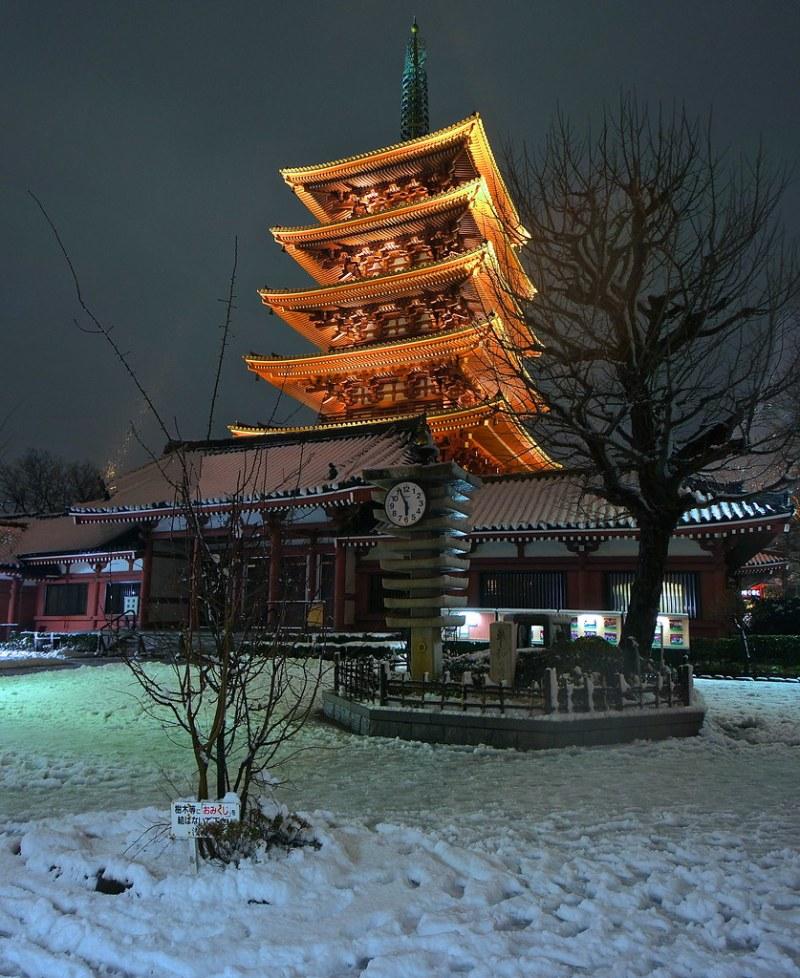 Asakusa during snowfall