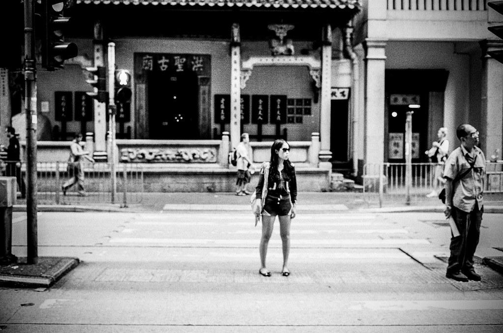 Girl outside temple
