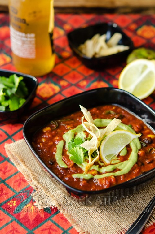 Vegan Loaded Enchilada Soup with Creamy Tomatillo Sauce - Delicious, comforting and satiating!