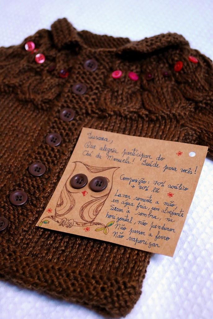 tricô em prosa.com - Casaco de Corujas para Manuela
