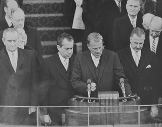 Johnson, Nixon, Graham & Agnew Pray During Inaugural Ceremony: 1969