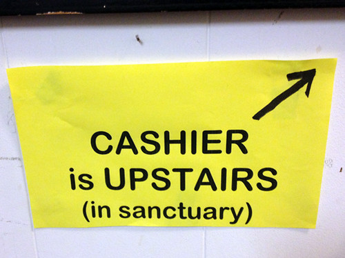 Cashier in sanctuary
