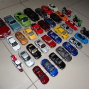 My Die-Cast Cars & Bikes Collection (Front Quarter Aerial Overview)