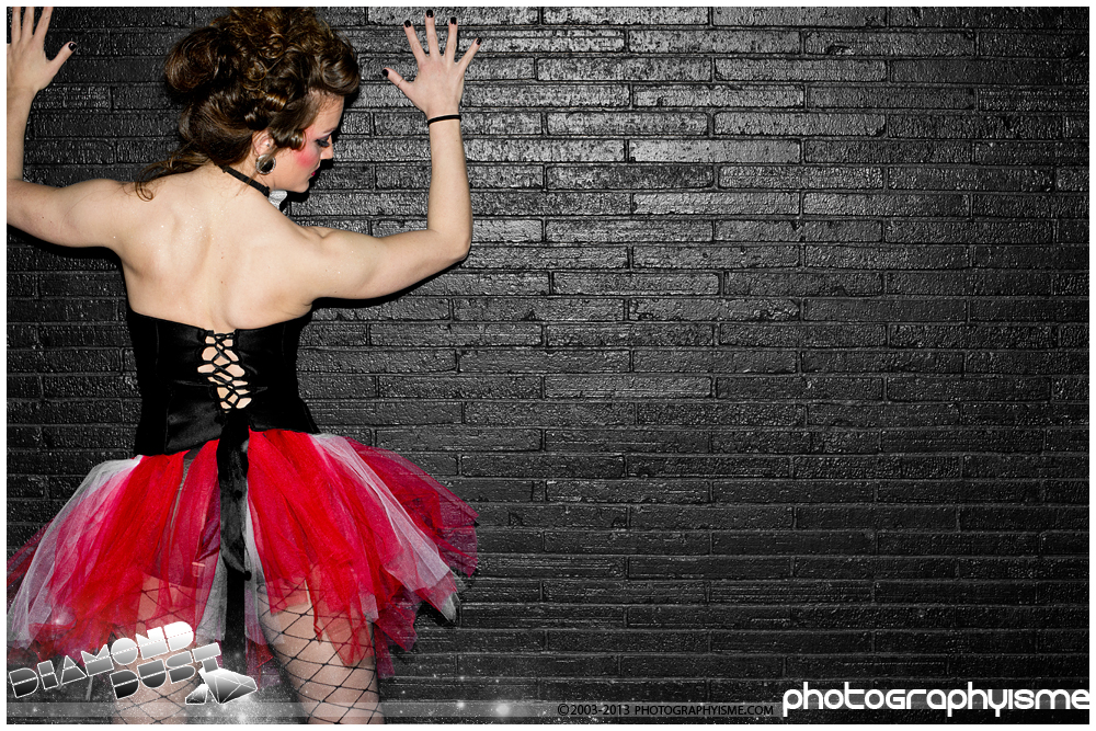 Tutu girl up against the wall