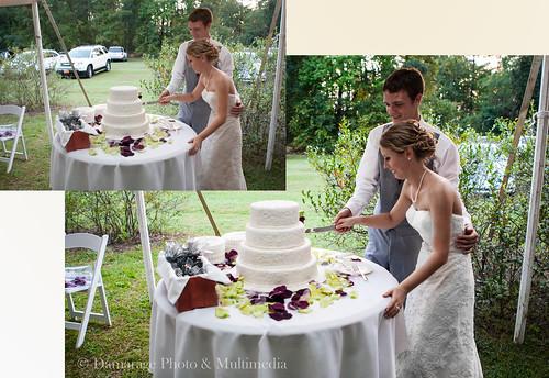 Marido y Mujer cortando la tarta de boda