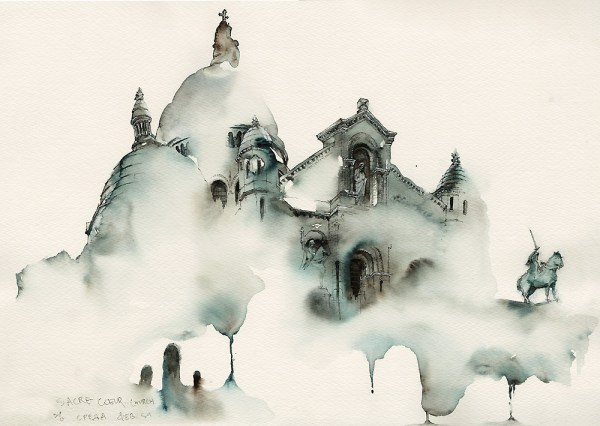 Sacre-Coeur Church in Montmartre, Paris by Park Sunga