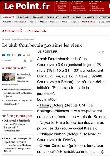 """Le Point (""""Le Club Courbevoie 3.0 aime les vieux !""""). Club fondé par Arash Derambarsh by Arash Derambarsh"""