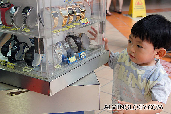 Asher checking out watches