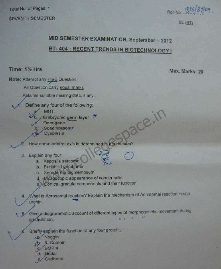 NSIT Question Papers 2012 – 7 Semester - Mid Sem - BT-404