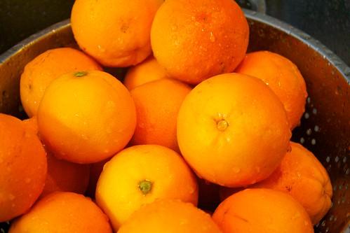 Washing the oranges