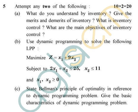UPTU B.Tech Question Papers -TMA-013/MA-013 - Principle of Operations Research