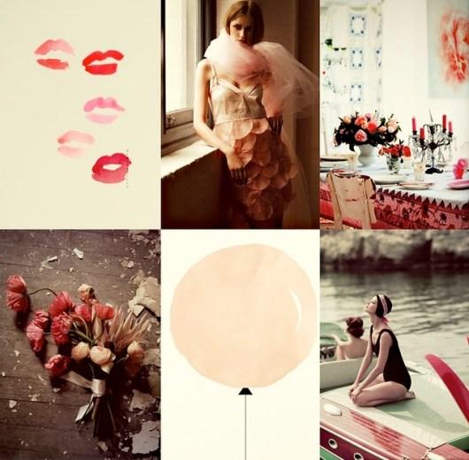 neutrals, pink, red
