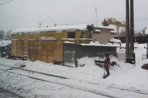 Ukrainian Railways snow plow stabled in the yard