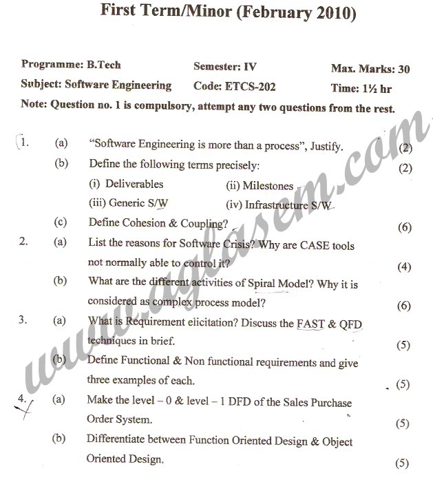 GGSIPU Question Papers Fourth Semester – First Term 2010 – ETCS-202