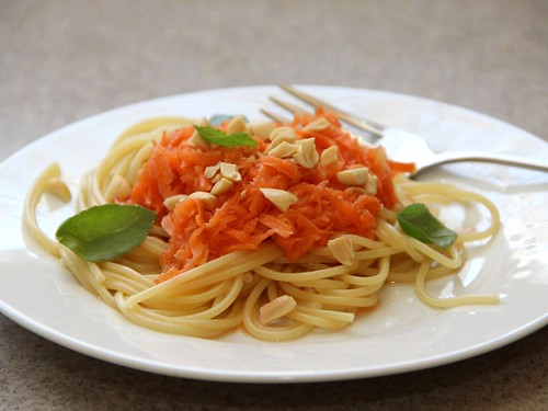 quick pickled carrot noodle salad