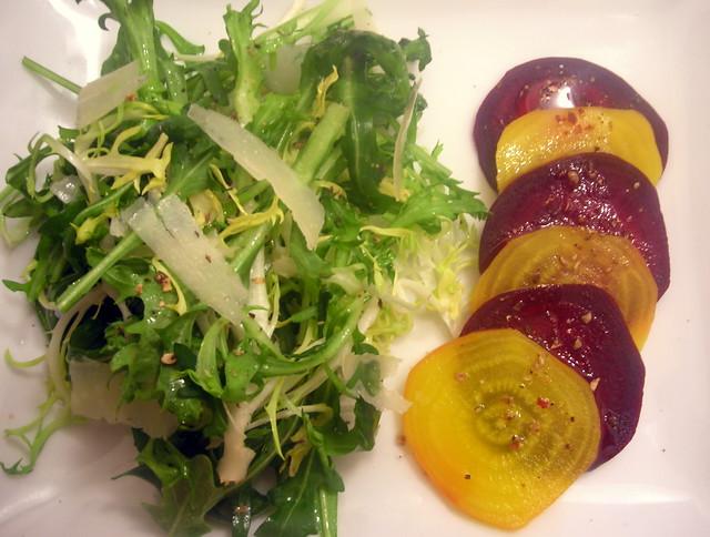 "Beet ""carpaccio"", baby arugula and frisée salad, hazelnut vinaigrette"