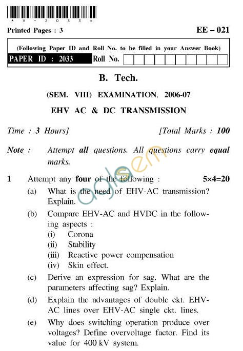 UPTU B.Tech Question Papers - EE-021-EHV AC & DC Transmission