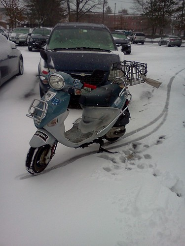 Franz, the Buddy scooter, parked safe & sound in the snow, March 8, 2013