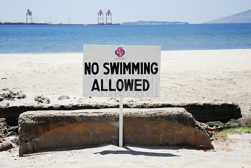 Swimming not allowed at Subic Bay Boardwalk.