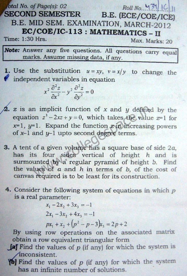 NSIT Question Papers 2012 – 2 Semester - Mid Sem - EC-COE-IC-113