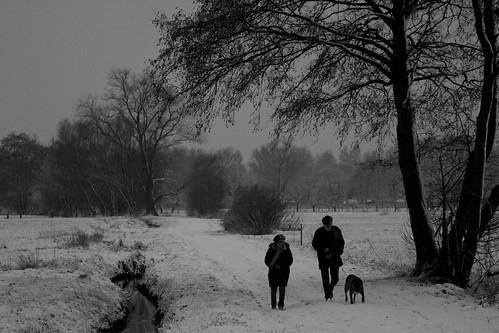 a walk in cold snow