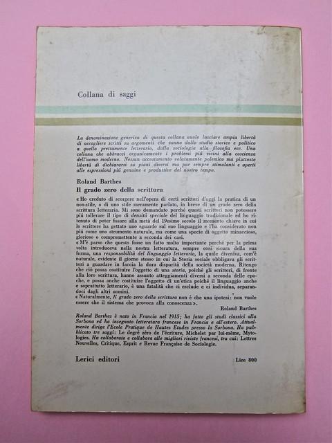 Roland Barthes, Il grado zero della scrittura. Lerici editori 1960, [progetto grafico di Ilio Negri?]. Quarta di copertina (part.), 1