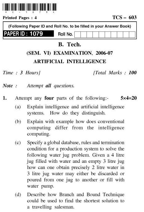 UPTU B.Tech Question Papers - TCS-603-Artificial Intelligence