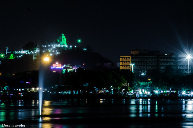 Birla Temple in evening seen from Hussain Sagar Tank Bund