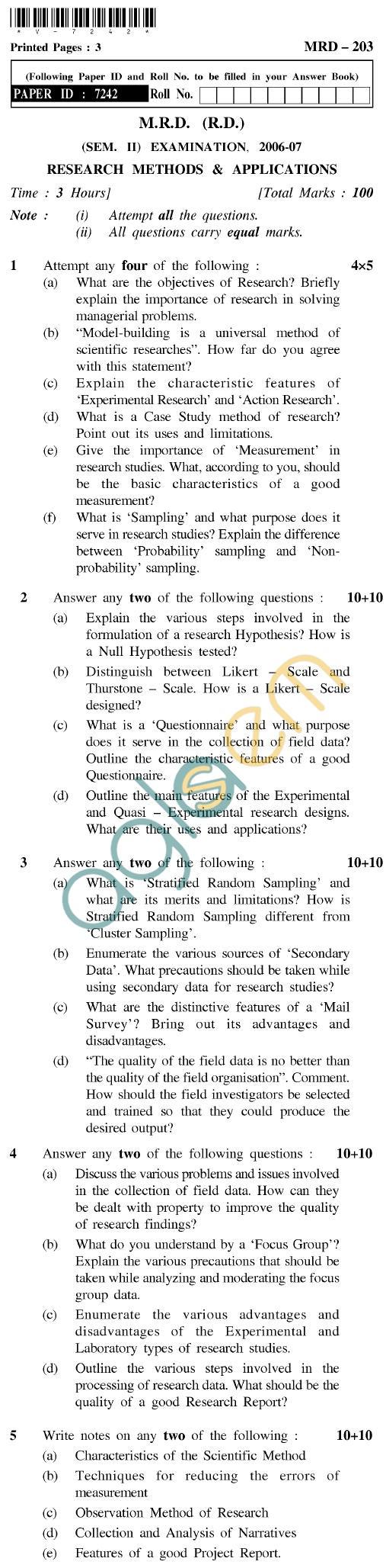 UPTU MRD (RD) Question Papers - MRD-203-Research Methods & Applications