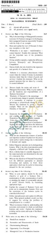 UPTU MBA (RD) Question Papers - MRD-205-Managerial Economics