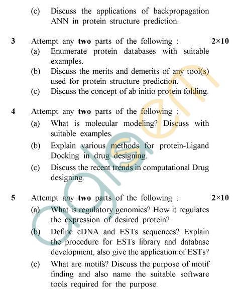 UPTU B.Tech Question Papers -BME-602 - Bio Informatics