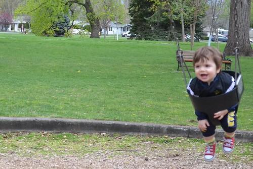 Emile in a swing