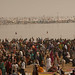 Crowds on the ghats of Sangam. This is on a regular day of Kumbh Mela. What ever little ground you see, it will also get covered with heads on a auspicious day.