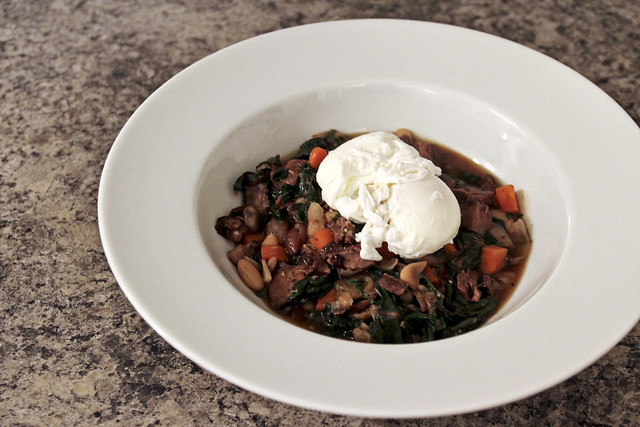 lamb beach stew with poached eggs