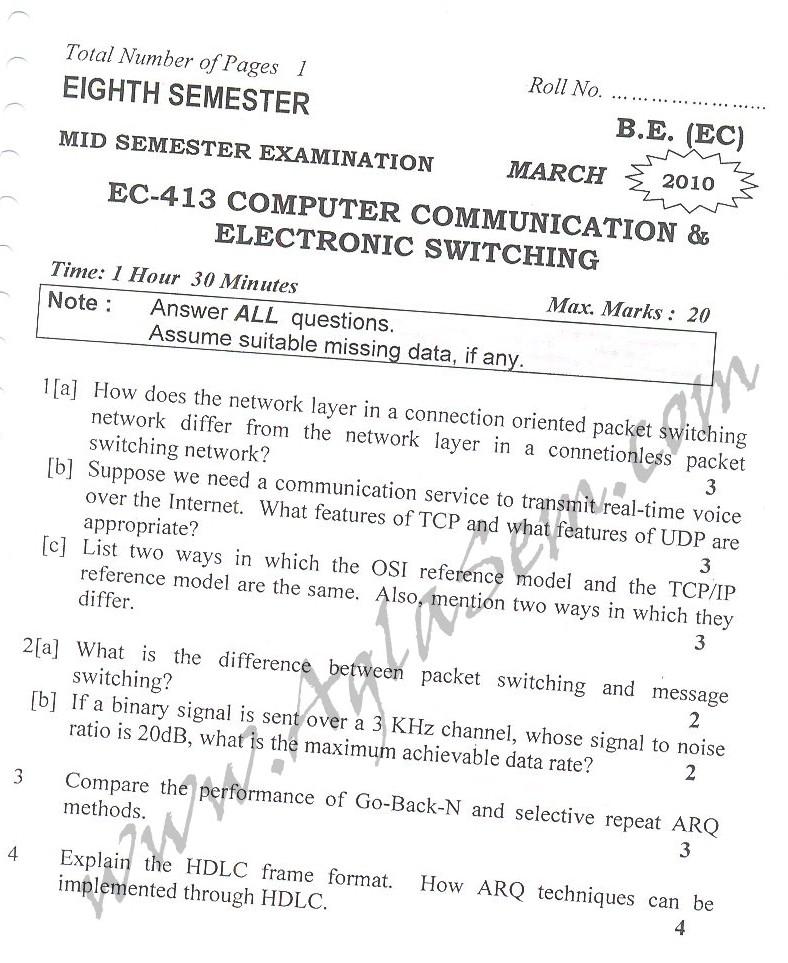 DTU Question Papers 2010 – 8 Semester - Mid Sem - EC-413