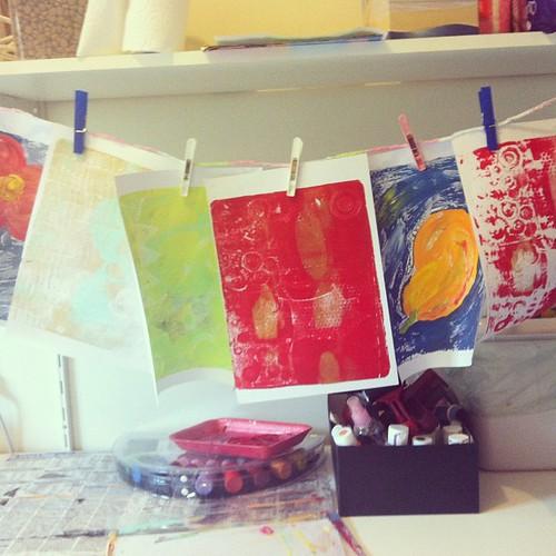 Day 92/365 (2013): Drying a fresh batch of gelli prints...