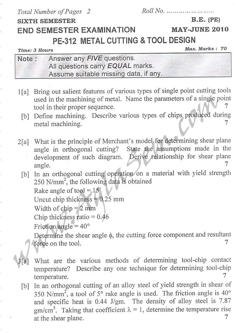 DTU Question Papers 2010 – 6 Semester - End Sem - PE-312