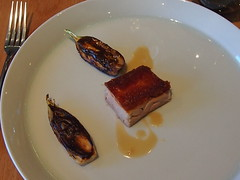 Roast suckling pig, miso and walnut glazed endive and aubergine