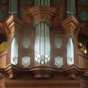 Close-Up of Baroque Organ in Chapel