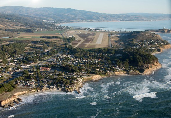 Aerial view of Moss Beach, Half Moon Bay Airport, and the Seal Cove Fault, California