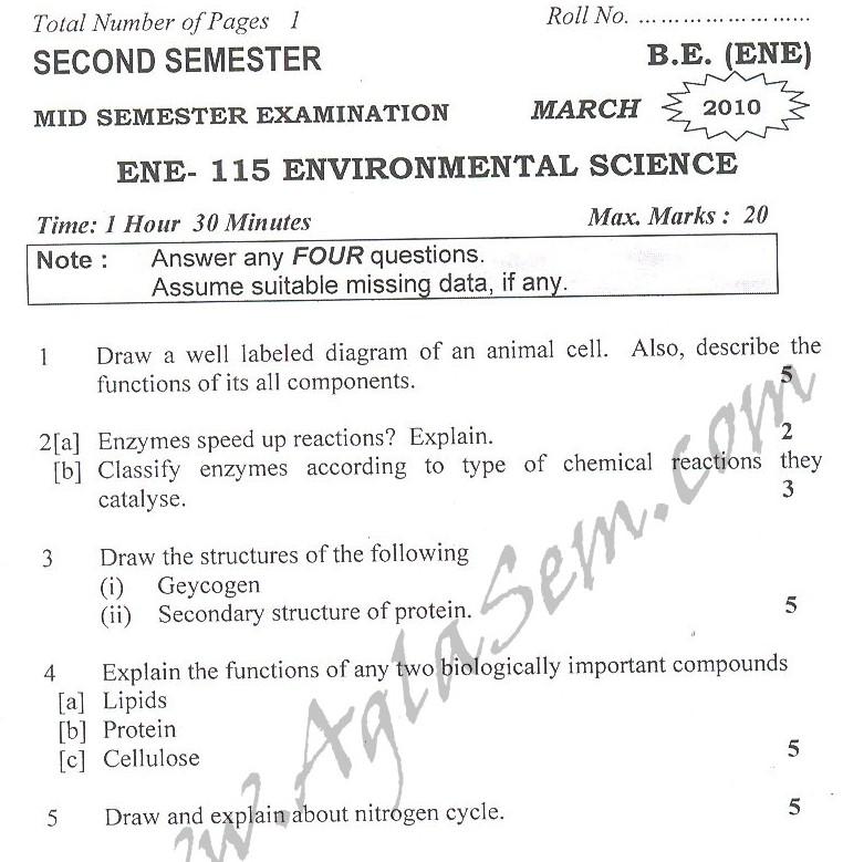 DTU Question Papers 2010 – 2 Semester - Mid Sem - ENE-115