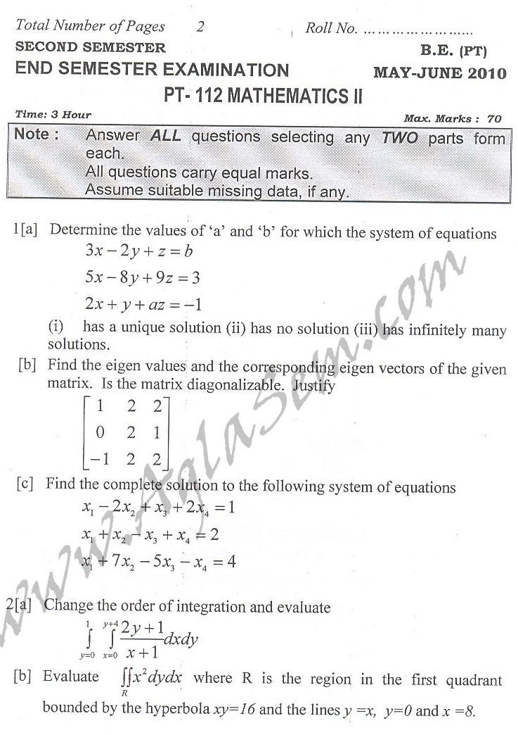 DTU Question Papers 2010 – 2 Semester - End Sem - PT-112