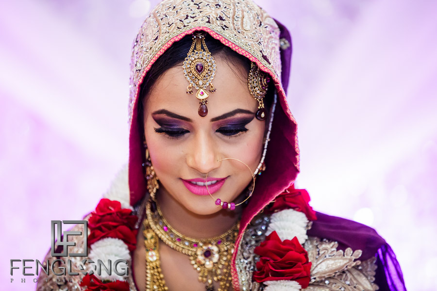 Close up of bride's face on stage
