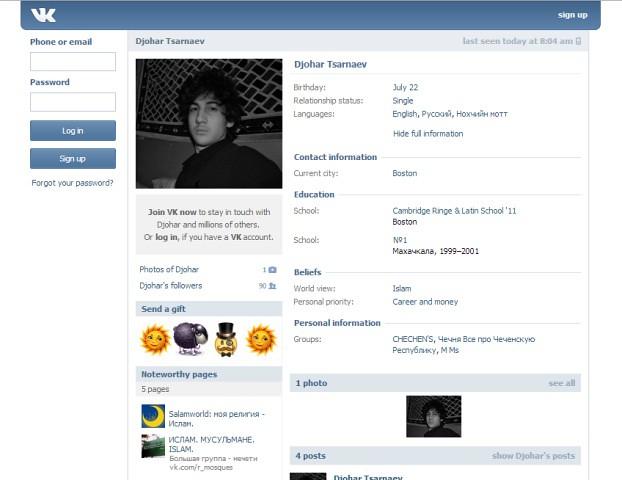 Akun jejaring sosial VKontakte milik terduga pelaku bom Boston, Dzhokar A Tsarnaev
