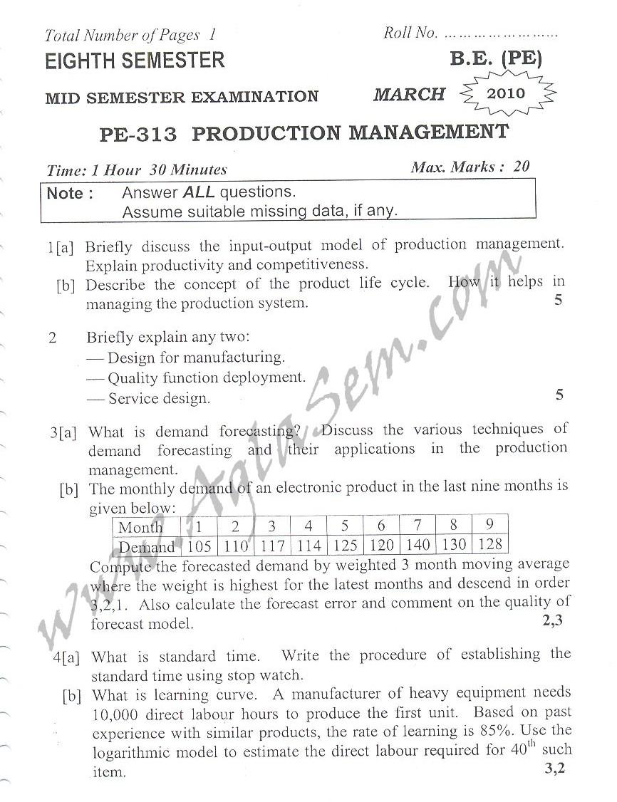 DTU Question Papers 2010 – 6 Semester - Mid Sem - PE-313