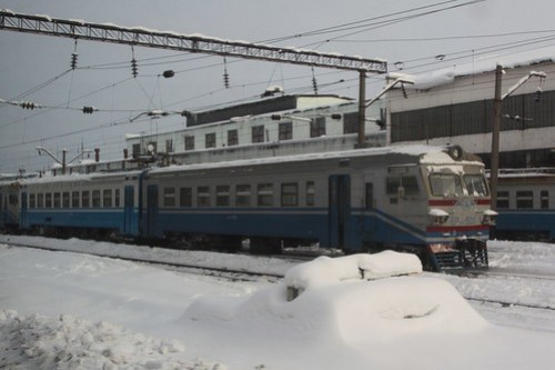 Another Elektrichka (електри́чка) stabled at Fastiv (Фа́стів) station