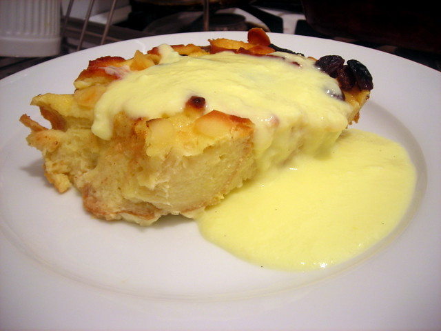 Boozy bread pudding, with crème anglaise