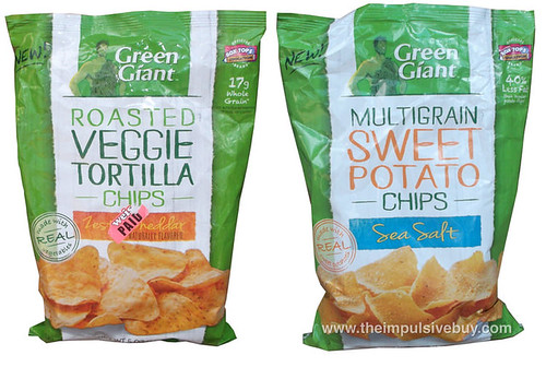 Green Giant Zesty Cheddar Roasted Veggie Tortilla Chips and Green Giant Sea Salt Mulitgrain Sweet Potato Chips
